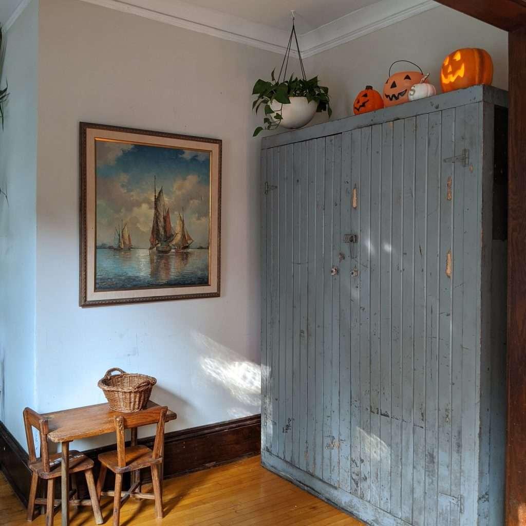 antique folk cabinet