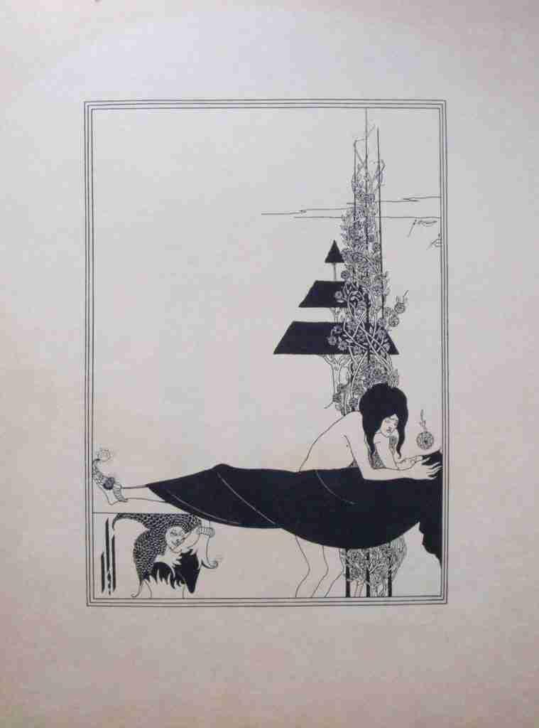 Aubrey Beardsley Lithograph Illustration for Oscar Wilde's A Plantonic Love