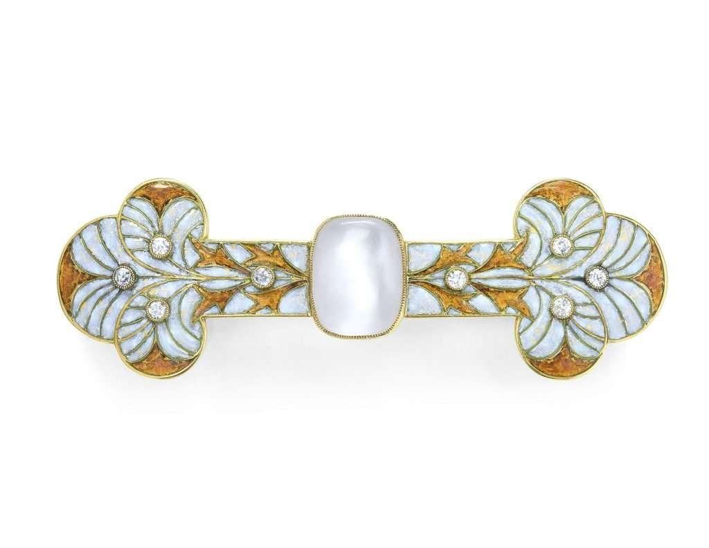 George Fouquet Art Nouveau Diamond Enamel Brooch, c. 1905 - 1910