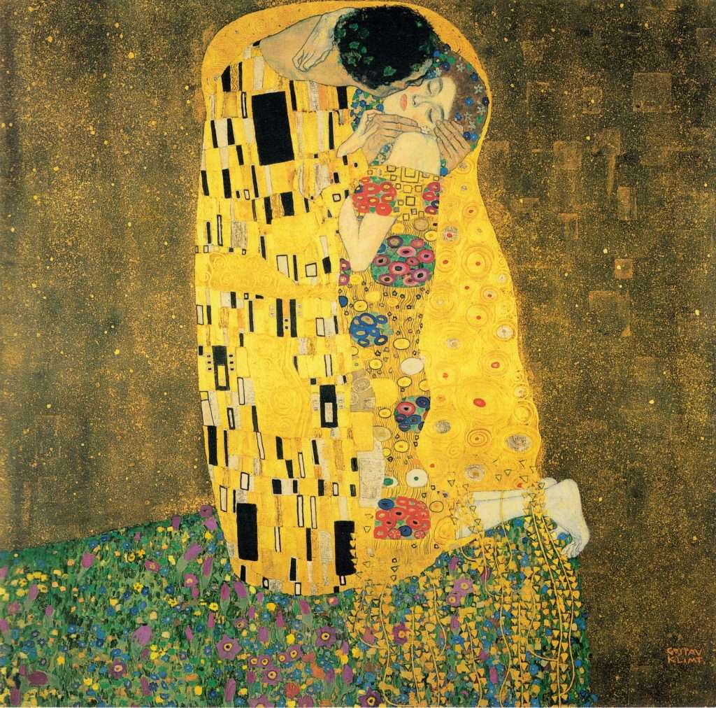 Gustav Klimt The Kiss (Der Kuss) Oil Painting, c. 1907. via the Österreichische Galerie Belvedere Museum