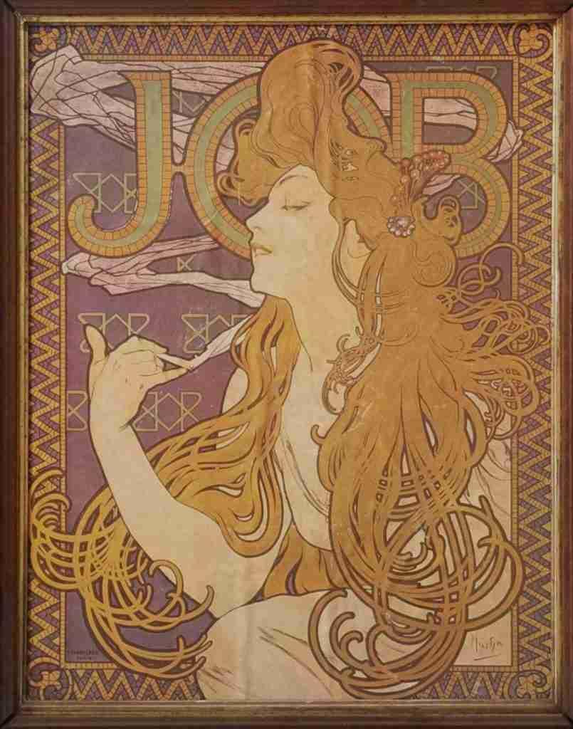 Alphonse Mucha Job Original Art Nouveau Lithograph, c. 1896