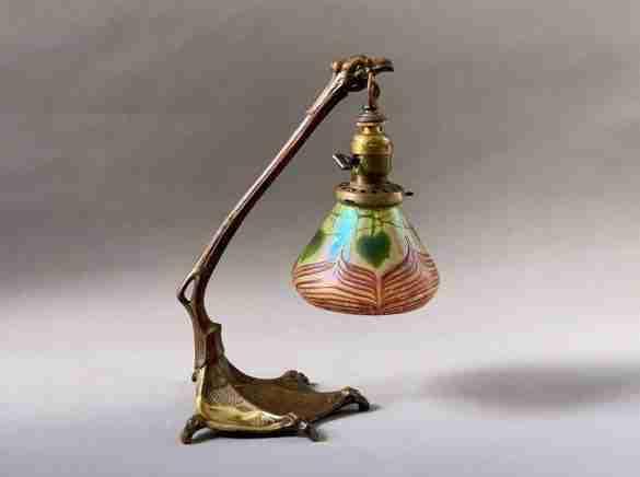 Bronze Art Nouveau Lamp, Gustav Gurschner