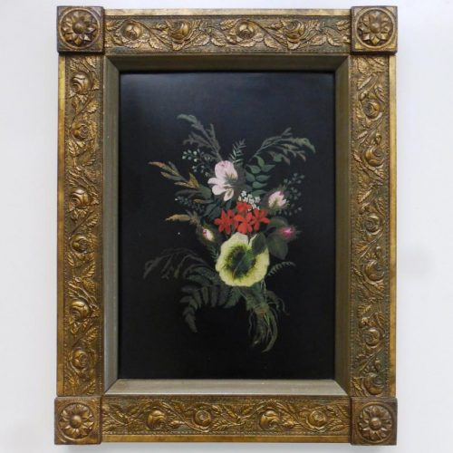 Antique Victorian Tole Painting (Oil on Metal)