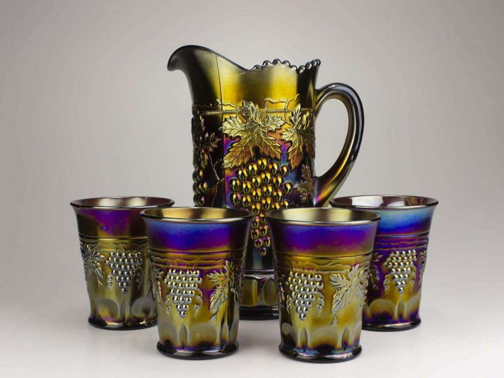 Northwood Grape & Cable Carnival Glass Tankard and Tumbler Set