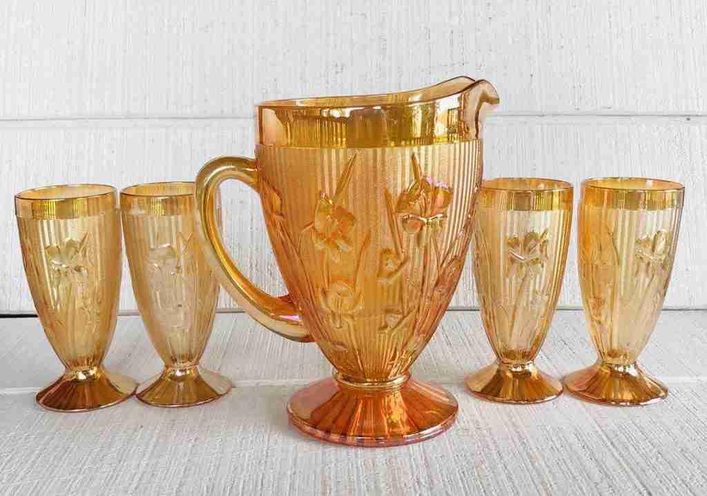 Vintage Jeanette Iris Herringbone Iridescent Tumblers and Pitcher Set