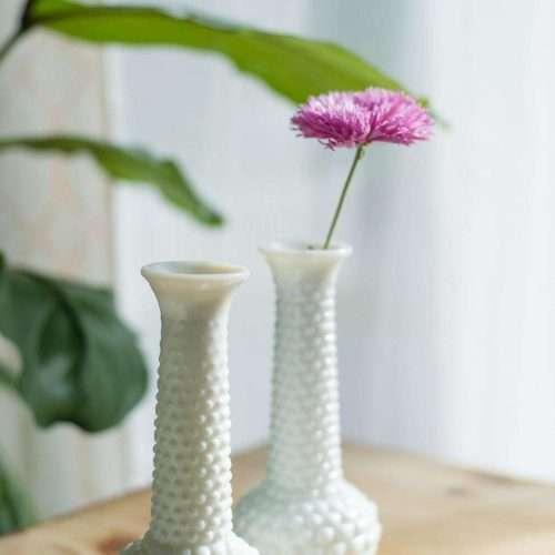 Set of 2 Milk Glass Vases