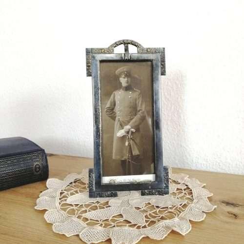 Antique Art Nouveau Pewter Picture Frame