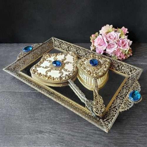 Antique Floral Filigree Dresser Set
