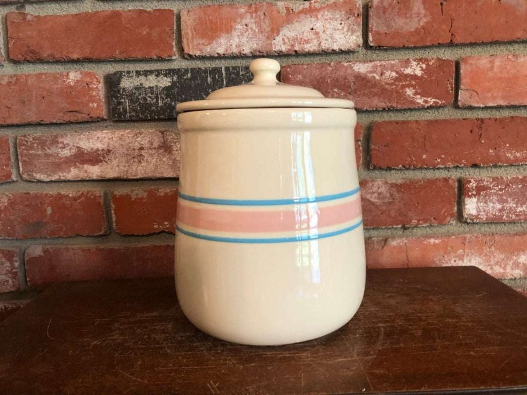mccoy pink and blue striped cookie jar 133