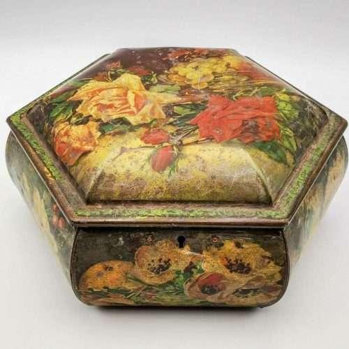 Antique Catherine Klein Style Floral Tin Box